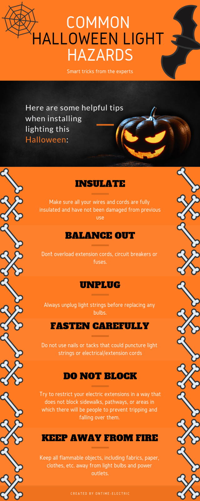 Halloween lights hazard infographic